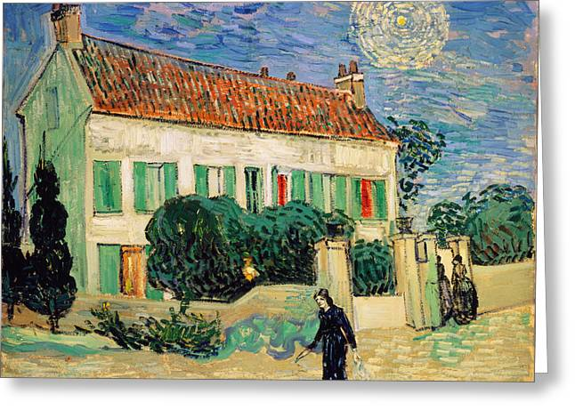White Paintings Greeting Cards - White House at Night Greeting Card by Vincent Van Gogh
