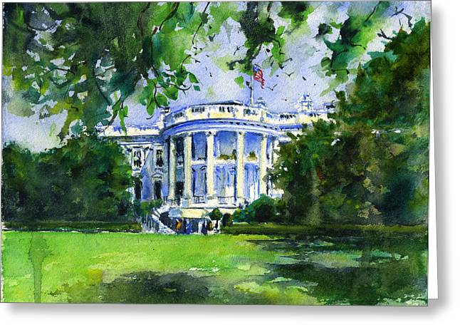 White House Greeting Card by John D Benson
