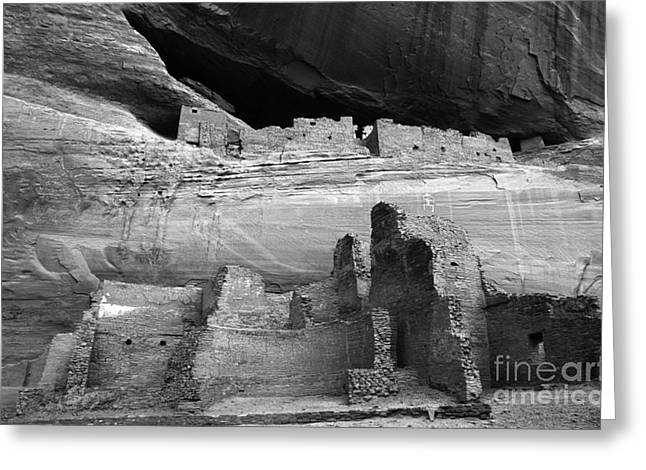 White House Ruin Canyon De Chelly Monochrome Greeting Card by Bob Christopher