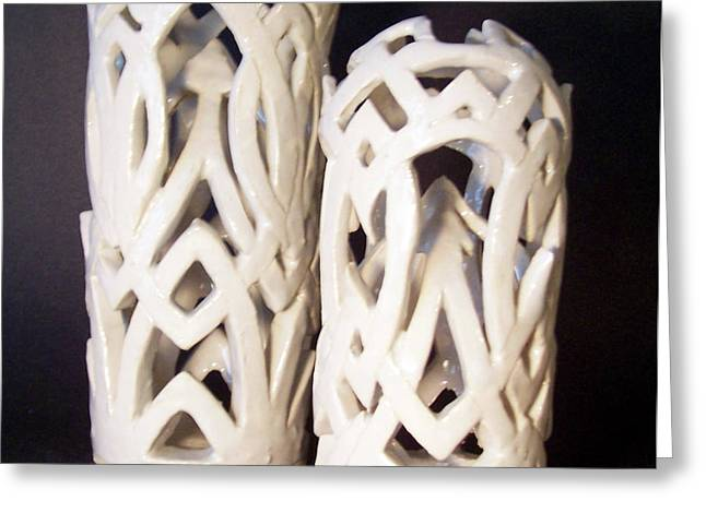 White Interlaced Sculptures Greeting Card by Carolyn Coffey Wallace