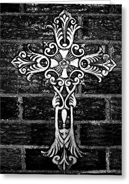 Jesus Mixed Media Greeting Cards - White Iron Cross BW Greeting Card by Angelina Vick