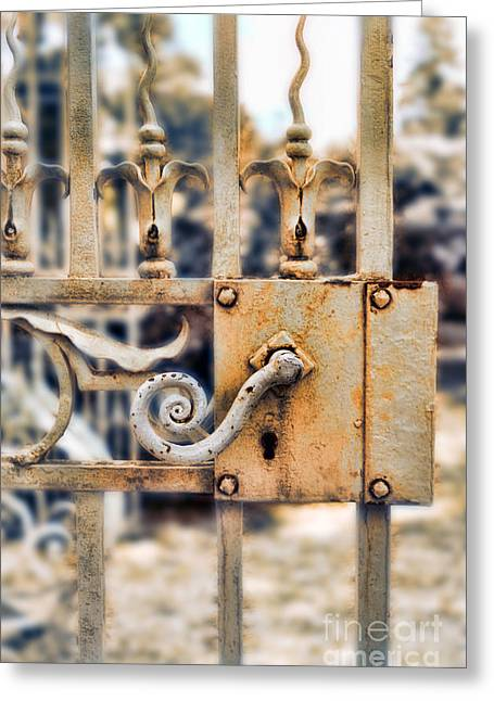 Painted Garden Gate Greeting Cards - White Iron Gate Details Greeting Card by Jill Battaglia