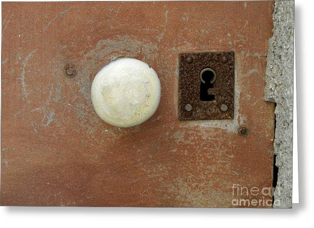 Lainie Wrightson Greeting Cards - White Knob and Rusty Lock Greeting Card by Lainie Wrightson