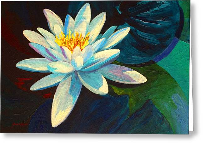 Water Lily Pond Greeting Cards - White Lily III Greeting Card by Marion Rose