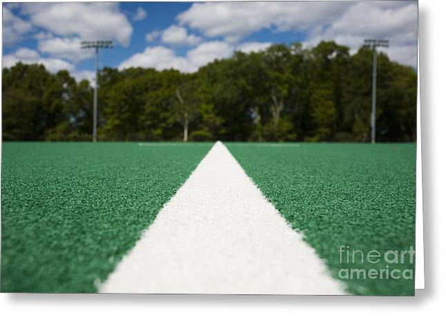 White Line on an Athletic Field Greeting Card by sam bloomberg-rissman