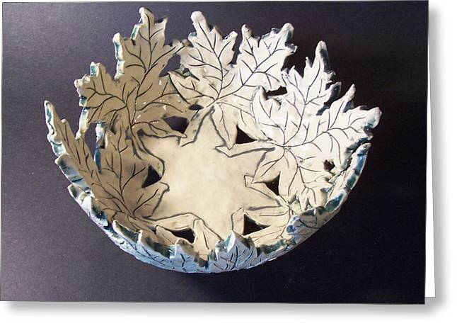 White Ceramics Greeting Cards - White Maple Leaf Bowl Greeting Card by Carolyn Coffey Wallace
