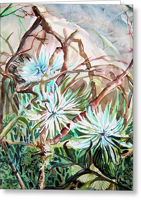 Blue Flowers Drawings Greeting Cards - White Mums Greeting Card by Mindy Newman