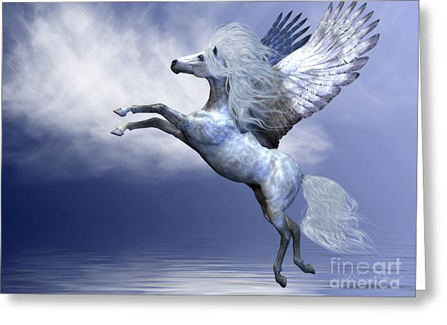 Fabled Greeting Cards - White Pegasus Greeting Card by Corey Ford