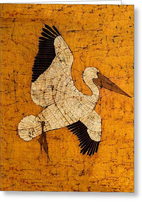 Lady Tapestries - Textiles Greeting Cards - White Pelican Greeting Card by Alexandra  Sanders