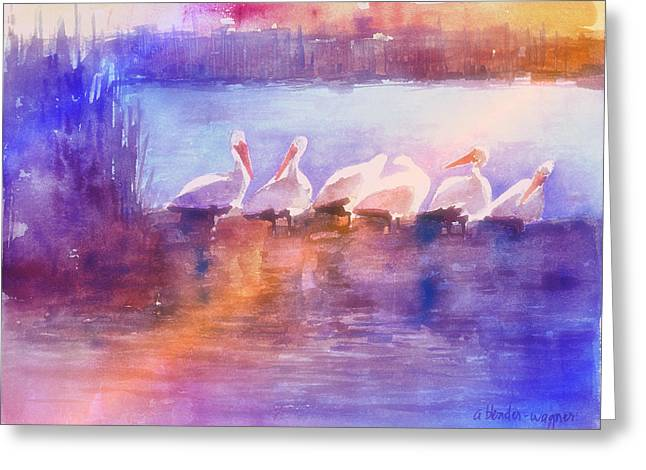 Pelican Paintings Greeting Cards - White Pelicans Greeting Card by Arline Wagner