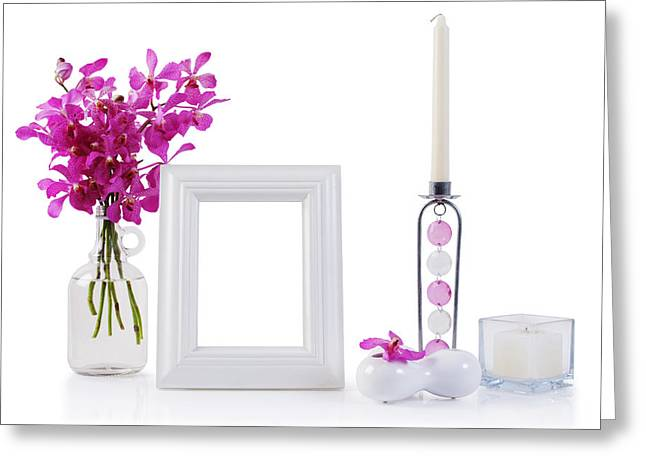 Reflex Greeting Cards - White Picture Frame In Decoration Greeting Card by Atiketta Sangasaeng
