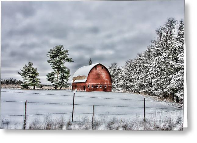 Misty Pine Photography Greeting Cards - White Pine Barn Greeting Card by Whispering Feather Gallery