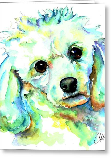 Cut Puppy Greeting Cards - White Poodle Greeting Card by Christy  Freeman