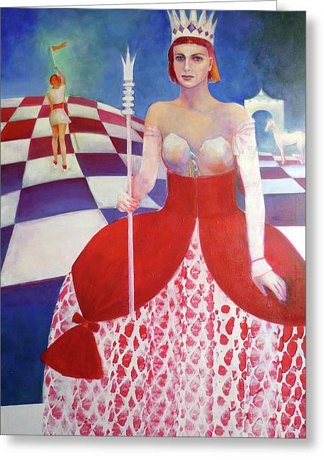 Ball Gown Paintings Greeting Cards - White Queen Greeting Card by Elena Bardina