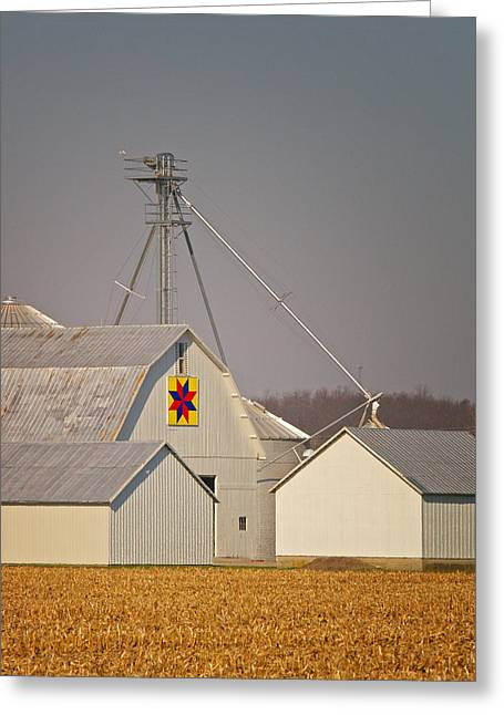 Patch Quilts Greeting Cards - White Quilt Barn Greeting Card by Brian Mollenkopf
