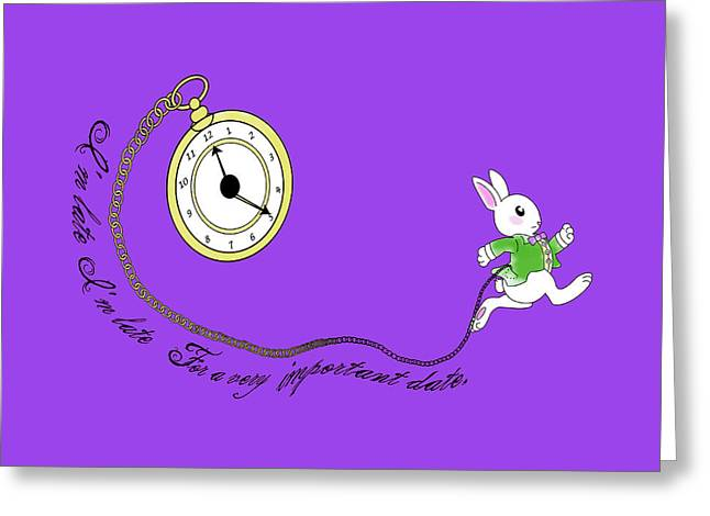 Rabbit In Cup Greeting Cards - White Rabbit Greeting Card by Vava Fuller-quinn