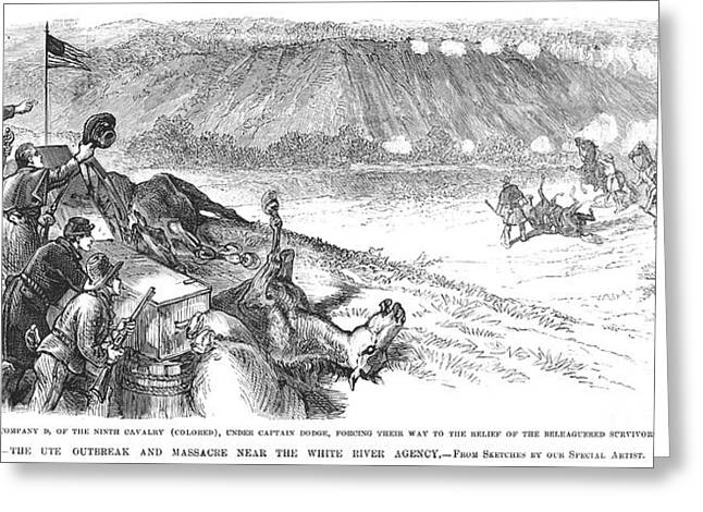 U.s Army Greeting Cards - White River Attack, 1879 Greeting Card by Granger