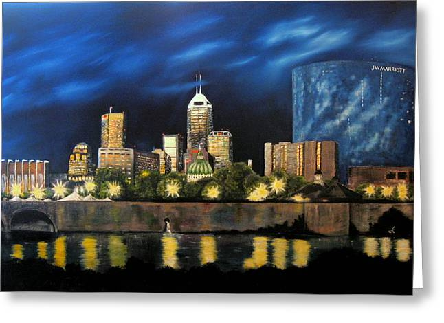 Indiana Rivers Paintings Greeting Cards - White River Walk Greeting Card by Erin T
