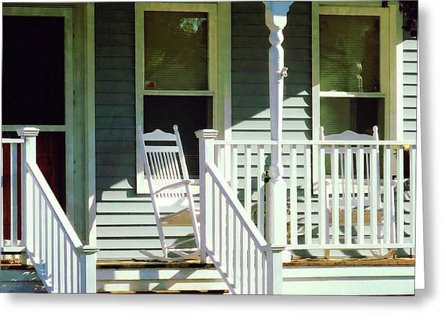 White Rocking Chairs Greeting Card by Susan Savad