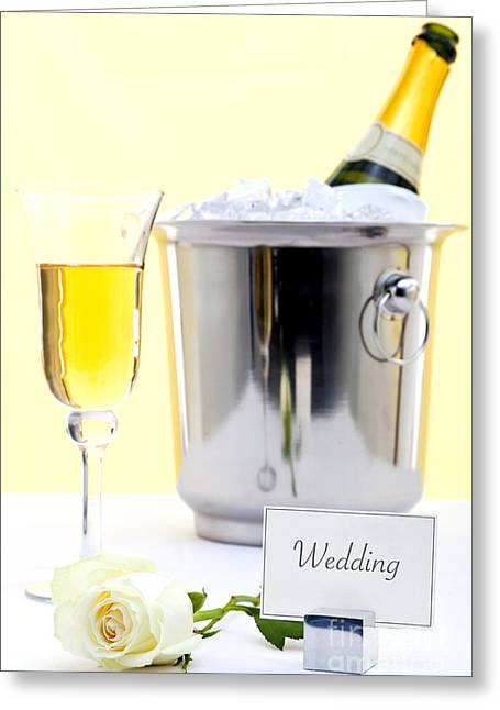 Champagne Glasses Greeting Cards - White rose and champagne Greeting Card by Richard Thomas
