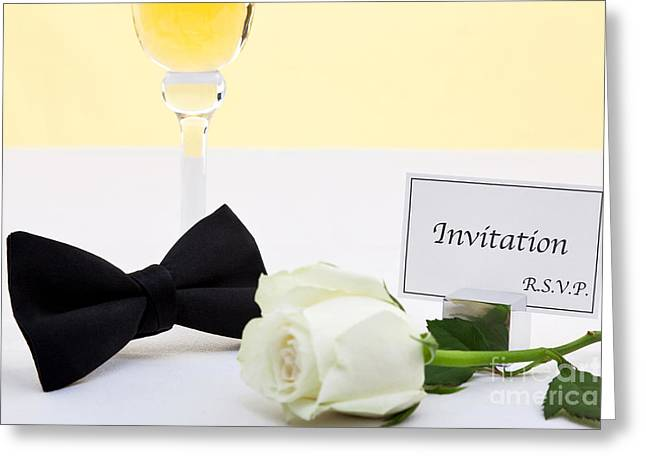 Black Tie Greeting Cards - White rose bow tie and invitation. Greeting Card by Richard Thomas