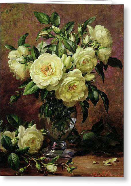 Roses Paintings Greeting Cards - White Roses - A Gift from the Heart Greeting Card by Albert Williams