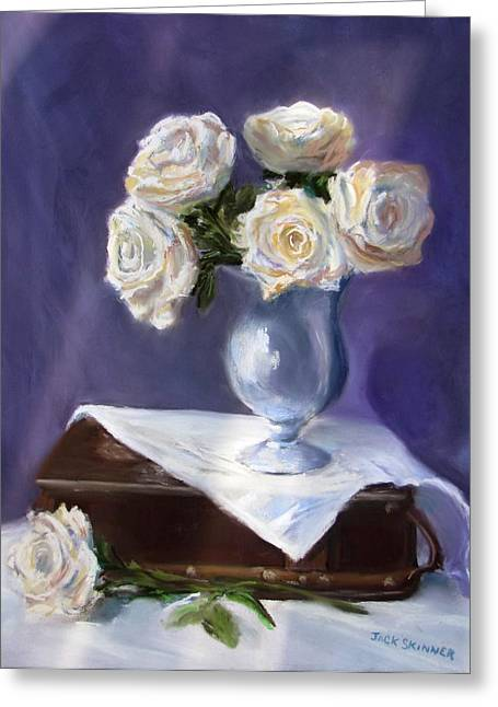 Jack Skinner Greeting Cards - White Roses in a Silver Vase Greeting Card by Jack Skinner