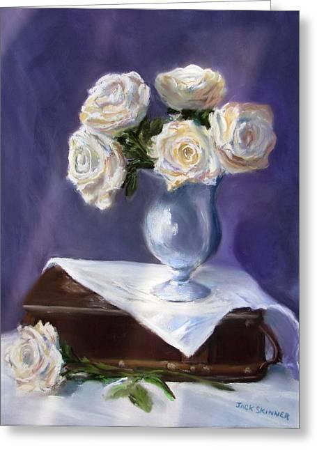 Jack Skinner Pastels Greeting Cards - White Roses in a Silver Vase Greeting Card by Jack Skinner
