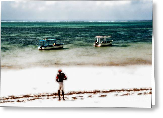 Beachcomber Greeting Cards - White Sands of Mombasa Greeting Card by Gwyn Newcombe