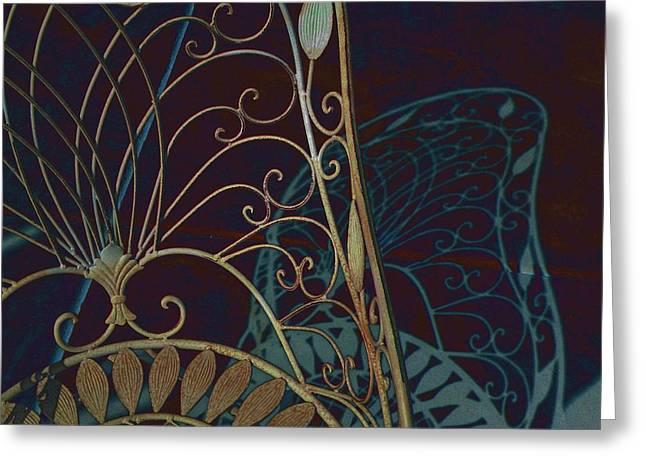 Lawn Chair Digital Art Greeting Cards - White Shadow Greeting Card by Devalyn Marshall