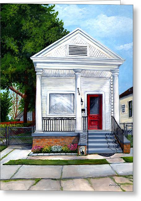 Historic Home Paintings Greeting Cards - White Shotgun House Greeting Card by Elaine Hodges