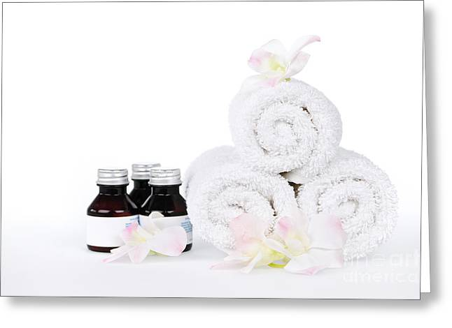 Treatment Greeting Cards - White spa Greeting Card by Elena Elisseeva