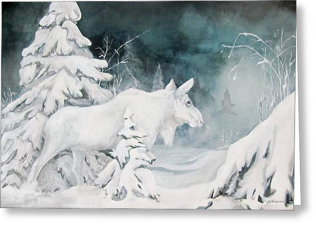 Canadian Winter Art Greeting Cards - White Spirit Moose Greeting Card by Nonie Wideman