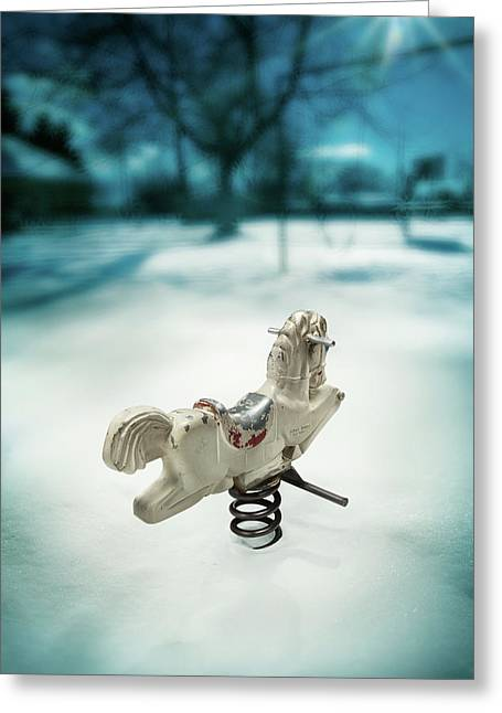 Exterior Greeting Cards - White Spring Horse Greeting Card by Yo Pedro