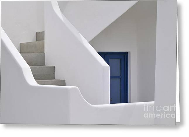 Surrounding Wall Greeting Cards - White stairs and blue door Greeting Card by Sami Sarkis
