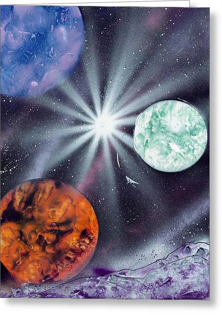 Marc Chambers Greeting Cards - White Star Burst Greeting Card by Marc Chambers
