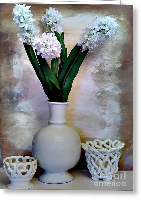 White Decor Posters Greeting Cards - White Still Life Greeting Card by Marsha Heiken