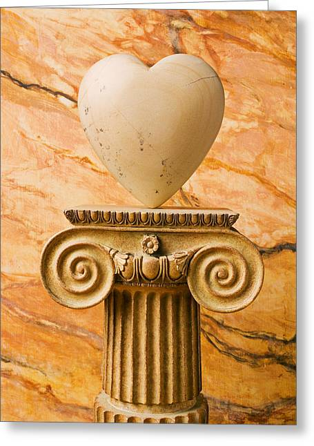 Amour Greeting Cards - White stone heart on pedestal Greeting Card by Garry Gay