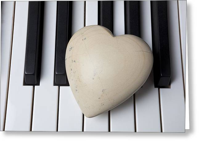 Stones Greeting Cards - White Stone Heart On Piano Keys Greeting Card by Garry Gay