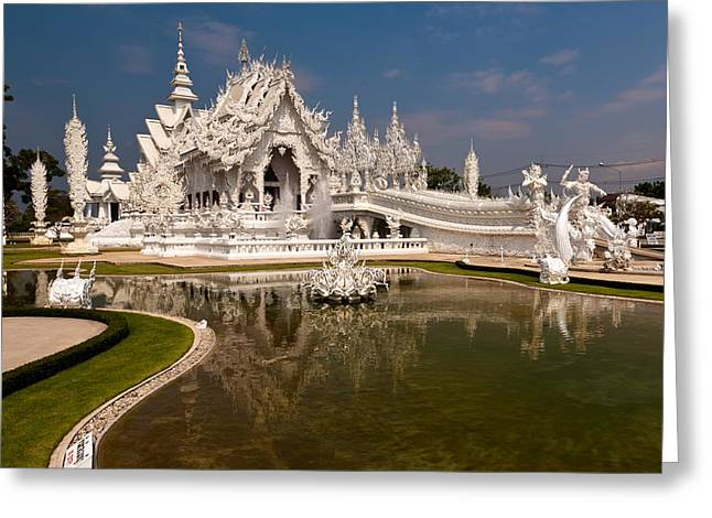 Reflecting Water Digital Art Greeting Cards - White Temple Greeting Card by Adrian Evans