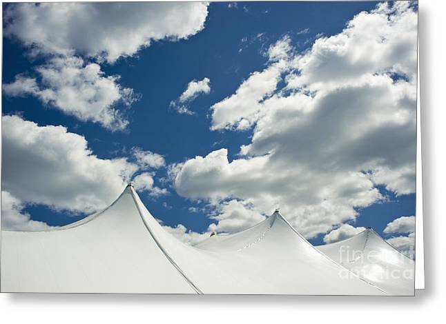 Big Top Greeting Cards - White Tent Top Against a Cloudy Sky Greeting Card by Sam Bloomberg-rissman