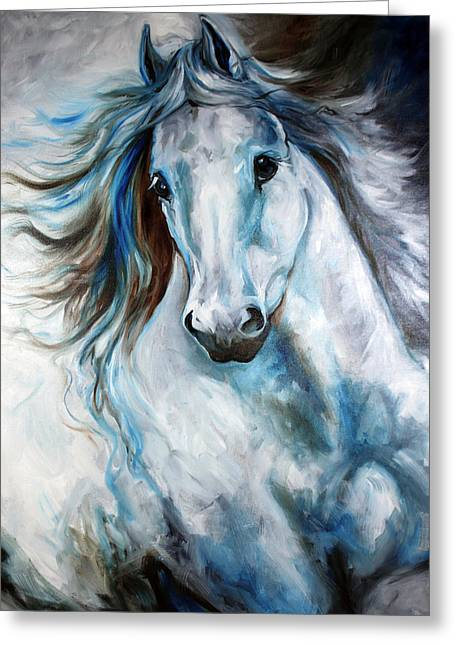Animal Abstract Greeting Cards - White Thunder Arabian Abstract Greeting Card by Marcia Baldwin