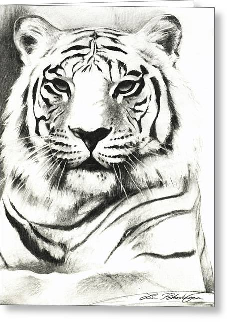 The Tiger Greeting Cards - White Tiger Portrait Greeting Card by Lin Petershagen