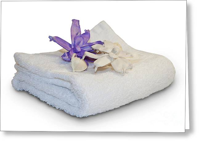 Skincare Greeting Cards - White towel Greeting Card by Blink Images