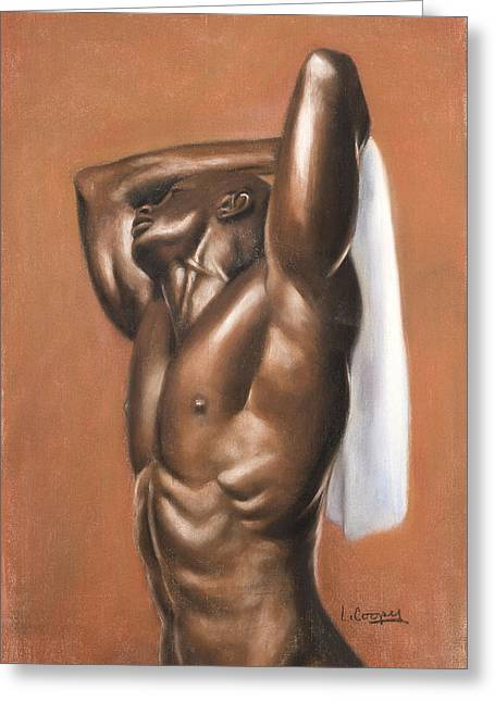 Figure Study Pastels Greeting Cards - White Towel Greeting Card by L Cooper