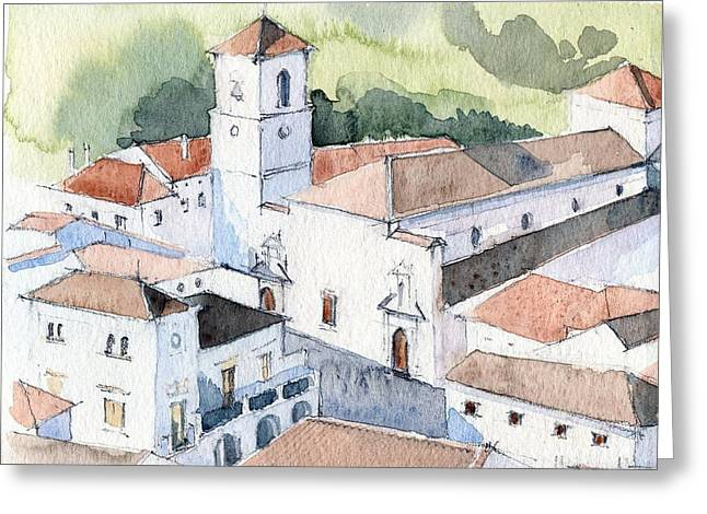 White Village Greeting Card by Stephanie Aarons