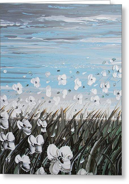 Contemporary Art By Christine Greeting Cards - White Wildflower Breeze Greeting Card by Christine Krainock