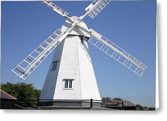 White Smock Greeting Cards - White Windmill Greeting Card by John Gaffen