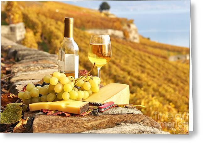 Champagne Glasses Greeting Cards - White wine and grapes Greeting Card by Alexander Chaikin