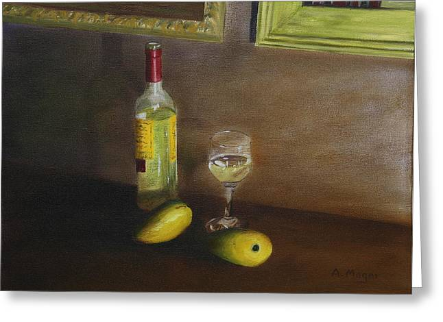 Mango Greeting Cards - White Wine and Mangoes Greeting Card by Alan Mager